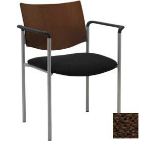 KFI Guest Chair with Arms -  Chocolate Wood Back, Brown Fabric Seat