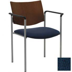 KFI Guest Chair with Arms -  Chocolate Wood Back, Navy Fabric Seat