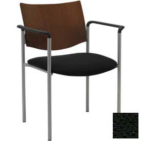KFI Guest Chair with Arms -  Chocolate Wood Back, Black Fabric Seat