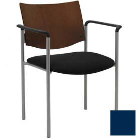 KFI Guest Chair with Arms -  Chocolate Wood Back, Navy Vinyl Seat