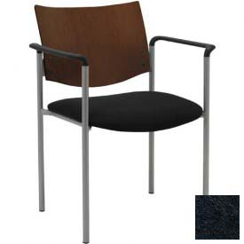 KFI Guest Chair with Arms -  Chocolate Wood Back, Black Vinyl Seat