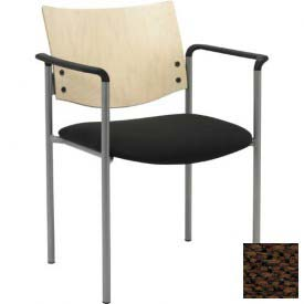 Side / Guest Chair, with Arms and Natural Wood Back, Brown Fabric Seat