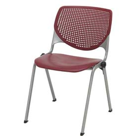KFI Stack Chair with Perforated Back -  Plastic Seat - Burgundy - KOOL Series