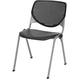 KFI Stack Chair with Perforated Back -  Plastic Seat - Black - KOOL Series