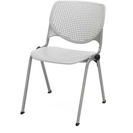 KFI Stack Chair with Perforated Back -  Plastic Seat - Light Grey - KOOL Series
