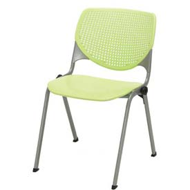 KFI Stack Chair with Perforated Back -  Plastic Seat - Lime Green - KOOL Series