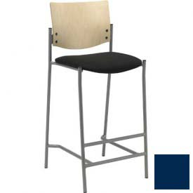 KFI Barstool - Vinyl  - Navy with Natural Wood Back