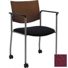 KFI Guest Chair with Arms and Casters -  Chocolate Wood Back, Burgundy Fabric Seat