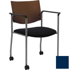 KFI Guest Chair with Arms and Casters -  Chocolate Wood Back, Navy Vinyl Seat