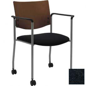 KFI Guest Chair with Arms and Casters -  Chocolate Wood Back, Black Vinyl Seat