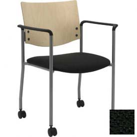 Side / Guest Chair, with Arms, Natural Wood Back and Casters, Black Fabric Seat