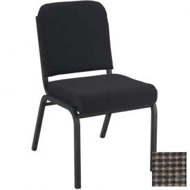 "KFI Stacking Chair with Front Roll - Armless - 2"" Brown Fabric/Black Steel Frame"