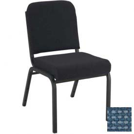 """Kfi 2"""" Front Roll Seat Stacking Chair, Blue Fabric/Black Steel Frame"""