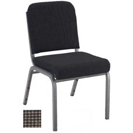 "KFI Stacking Chair with Front Roll - Armless - 2"" Brown Fabric/Silver Vein Steel Frame"