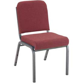 "KFI Stacking Chair with Front Roll - Armless - 2"" Cabernet Fabric/Silver Vein Steel Frame"