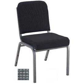"KFI Stacking Chair with Front Roll - Armless - 2"" Gray Fabric/Silver Vein Steel Frame"