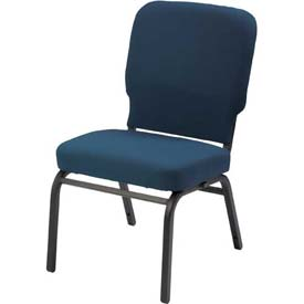 KFI Oversized Church Chair - Armless - Stacking - Navy Vinyl Black Frame