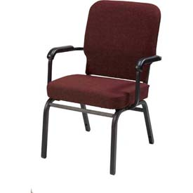 KFI Oversized Church Chair with Arms - Stacking - Maroon Fabric/Black Frame