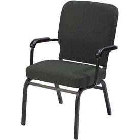 KFI Oversized Church Chair with Arms - Stacking - Emerald Fabric/Black Frame