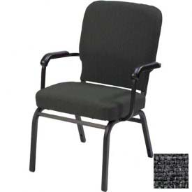 KFI Oversized Church Chair with Arms - Stacking - Slate Fabric/Black Frame