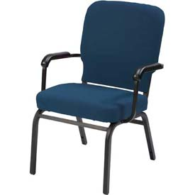 Kfi Oversized Church Stacking Chair With Arms, Navy Vinyl Black Frame