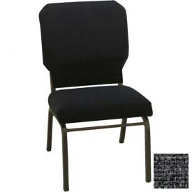 "Kfi Church Stacking Chair, 3"" Box Seat, Slate Fabric/Black Steel Frame"