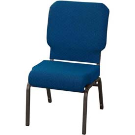 "KFI Church Chair with Front Roll Seat - Armless - Stacking - 3"" Cobalt Blue Fabric/Black Frame"