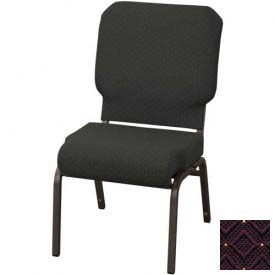 "KFI Church Chair with Front Roll Seat - Armless - Stacking - 3"" Aubergine Fabric/Black Frame"