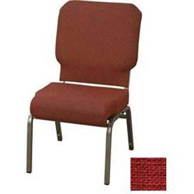 "KFI Church Chair with Front Roll Seat - Armless - Stacking - 3"" Brick Fabric/Silver Vein Frame"
