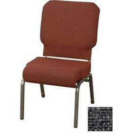 "KFI Church Chair with Front Roll Seat - Armless - Stacking - 3"" Slate Fabric/Silver Vein Frame"