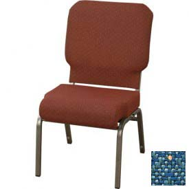 "KFI Church Chair with Front Roll Seat - Armless - Stacking - 3"" Azure Fabric/Silver Vein Frame"