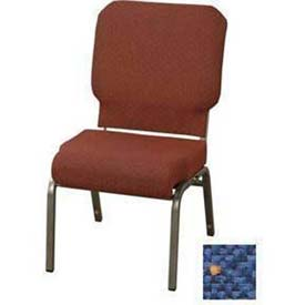 "Kfi Church Stacking Chair, 3"" Front Roll Seat, Patriot Blue Fabric/Silver Vein Frame"