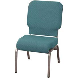 "KFI Church Chair with Front Roll Seat - Armless - Stacking - 3"" Aloe Fabric/Silver Vein Frame"
