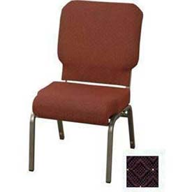 "KFI Church Chair with Front Roll Seat - Armless - Stacking - 3"" Aubergine Fabric, Silver Vein"