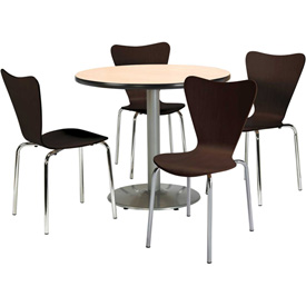 "KFI Dining Table & Chair Set Round 42""W x 29""H Espresso Wood Chairs with Round... by"