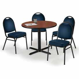 """Click here to buy KFI Dining Table & Chair Set Round 42""""W x 29""""H Navy Vinyl Chairs with Mahogany Table."""