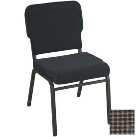 Kfi Heavy Duty Wing Back Stacking Chair, Brown Fabric/Black Frame