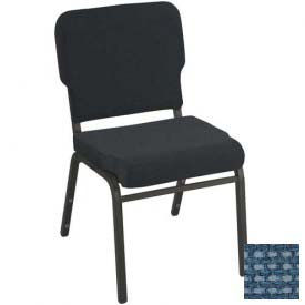 Kfi Heavy Duty Wing Back Stacking Chair, Blue Fabric/Black Frame