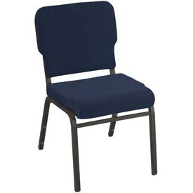 Kfi Heavy Duty Wing Back Stacking Chair, Navy Fabric/Black Frame
