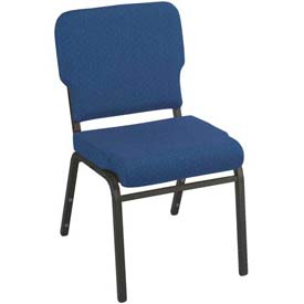 Kfi Heavy Duty Wing Back Stacking Chair, Cobalt Blue Fabric/Black Steel Frame