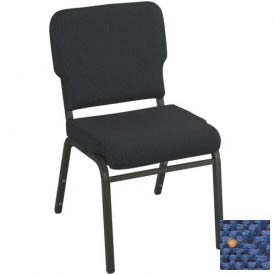 Kfi Heavy Duty Wing Back Stacking Chair, Patriot Blue Fabric/Black Steel Frame