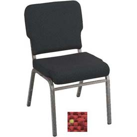 Kfi Heavy Duty Wing Back Stacking Chair, Poppy Fabric/Silver Vein Frame