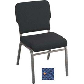 Kfi Heavy Duty Wing Back Stacking Chair, Patriot Blue Fabric/Silver Vein Frame