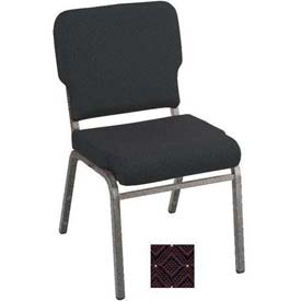 Kfi Heavy Duty Wing Back Stacking Chair, Aubergine Fabric/Silver Vein Frame