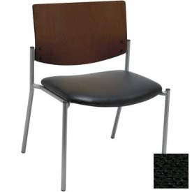 Big & Tall Guest/Reception Chair - Armless with Chocolate Wood Back, Black Fabric Seat