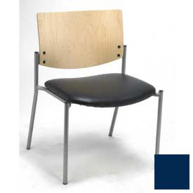 Big & Tall Guest/Reception Chair - Armless with Natural Wood Back, Navy Vinyl Seat