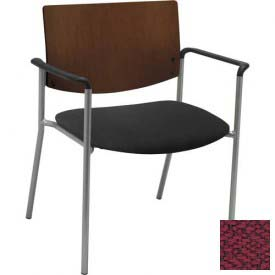 KFI Big and Tall Guest Reception Chair - Arms with Chocolate Wood Back, Burgundy Fabric Seat