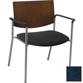 KFI Big and Tall Guest Reception Chair - Arms with Chocolate Wood Back, Navy Fabric Seat