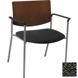 KFI Big and Tall Guest Reception Chair - Arms with Chocolate Wood Back, Charcoal Fabric Seat