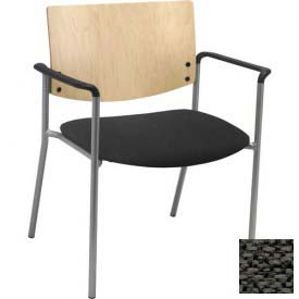 Big & Tall Guest/Reception Chair - Arms with Natural Wood Back, Charcoal Fabric Seat